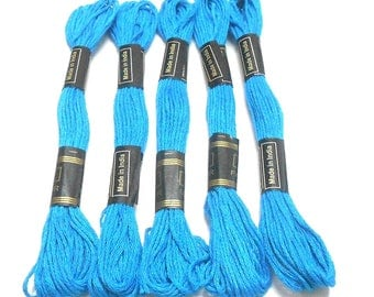 Goelx Skein Embroidery Thread Floss/ Jewelry Making Craft Thread Pack Of 25 Skeins - Sky Blue