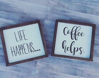 set of two | rustic home decor |  life happens | coffee helps | wood sign | Kitchen sign | framed sign | rustic decor | coffee sign | rustic