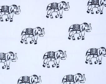Hand block Elephant print fabric, 3 color variation White,Blue and Black Color , 1 Yard