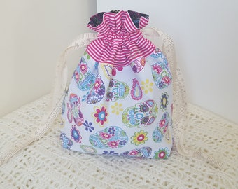 Skulls - Small Drawstring Project Bag- Knitting, Crochet Project Bag - Handmade.