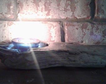 Natural Driftwood Candleholder - Cobalt Blue
