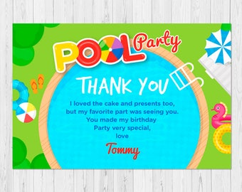POOL PARTY THANK You Card, Pool Birthday Thank You Card, Pool Birthday Party Thank You Card, A-I2