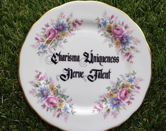 Charisma Uniqueness Nerve Talent- RuPaul Themed pretty cherry blossom plate / dish - RPDR RuPaul Drag Race queen vintage kitsch floral twee
