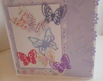 square handmade butterfly birthday card