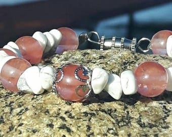 Cherry quartz and white howlite bracelet