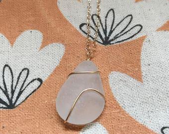 Beach Glass Pendant Necklace, sea glass Necklace, Lake Erie, white beach glass necklace, wire wrapped gold beach glass necklace, summer