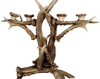 large antler candle holder ca. 1900
