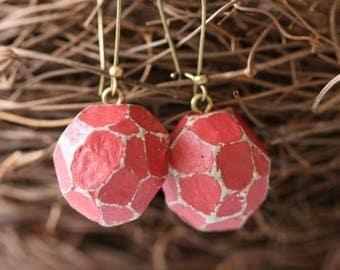 Paper mache earrings, Recycled earrings, Geometric Jewelry, Paper mache Jewelry, Rad earrings, Gift for her, Handmade earrings