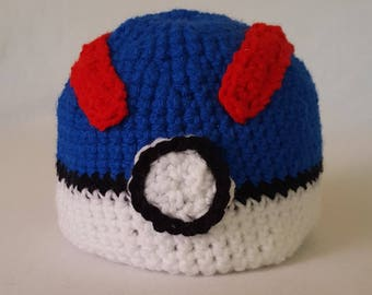 Crochet Pokemon Greatball Baby Hat - 8 sizes