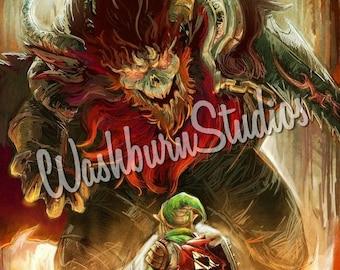 Legend of Zelda Graphic Art Print Link Ganon