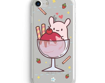 Cute Clear Case for Iphone and Samsung -Jelly Bunnies Strawberry Sundae