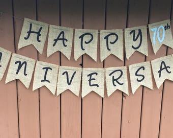 Anniversary Banner - Happy Anniversary - Custom Anniversary Banner - 70th Anniversary