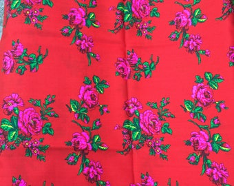 Wool floral fabric/ roses print