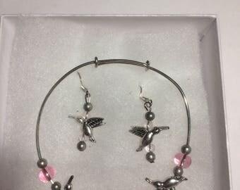 Humming bird bracelet earring set
