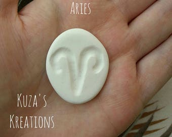Small Zodiac Sign Stone Aries Handmade [clay + paint/glitter + gloss]