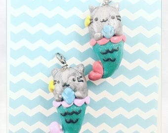 Pusheen Mermaid clay charm