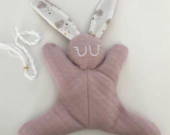 Doudou lapin bouillotte - noyaux de cerises - cadeau de naissance - baby shower - hottie nouveau ne  - bebe fille rose