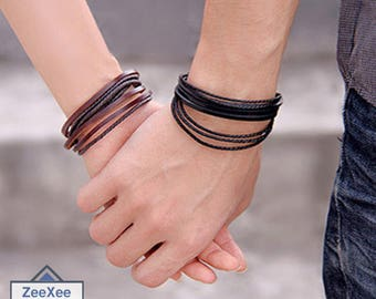 Leather Braided Rope Wristband Wrap Multilayer Bracelet for Men and Women