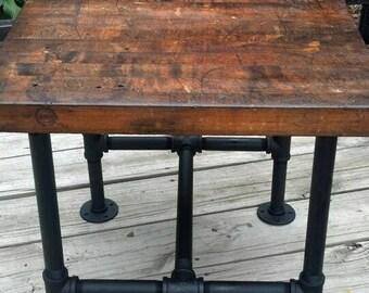 Rustic, industrial reclaimed barnwood table