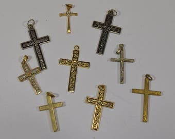 Vintage crosses - lot of 9 gold and silver