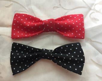 Set of 2 polka dot hair bow clips, red & black - 10cm