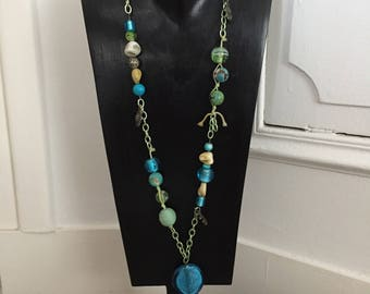 Necklace long, original, blue and green metal, cotton, wood, semi-precious stones, mother of Pearl, murano glass