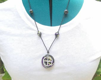Handmade medicine wheel clay necklace