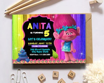 Trolls Birthday Invitation/Trolls Invitation/Trolls/Trolls Birthday/Troll Birthday Invites/Trolls Invitation Instant Download