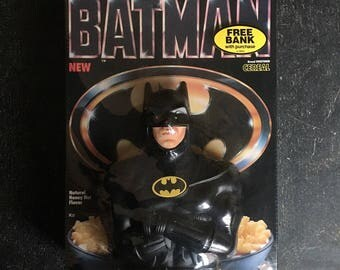 Batman Breakfast Cereal (1989 - Sealed Box with Michael Keaton Coin Bank!)