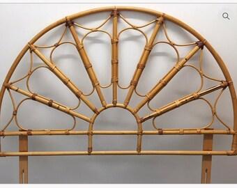 A beautiful Vintage wicker / bamboo double headboard