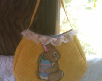 little girls yellow easter purse