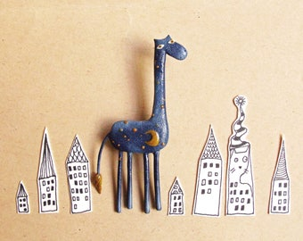 Night Giraffe Brooch - Giraffe Gift - Giraffe Jewelry - Blue Giraffe - Giraffe Lover Gift - Giraffe Pin - Navy Blue - Moon and Stars Gift