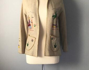 1940s Coat Mexican Southwest Wool Coat Embroidery Souvenir Jacket Size M