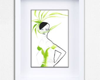 Green Feathers Limited Edition Framed Fine Art Print