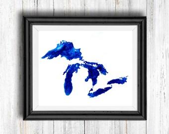 Blue Watercolor Great Lakes - Digital Download