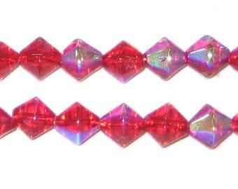 8mm Red Bi-cone AB Finish Fire Polish Glass Bead