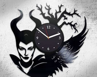 Maleficent, Vinyl Record Wall Clock, Home Decor, Best Gift For Girl, Nursery Decor, Original Clock, Wall Art, Birthday Gift