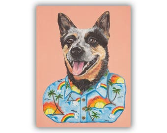 Custom Pet Portrait • 1 Pet • Dog Portrait • Dog Painting • Pet Memorial • Silly Pet Portrait • Dog in Hawaiian Shirt •  Free Shipping!