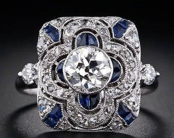 PRICE REDUCED 50%!  Art Deco Blue Sapphire White Topaz Sterling Silver Ring Size 8