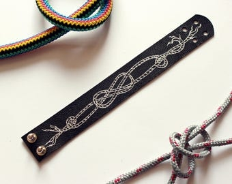 black leather bracelet with silver drawing - sailor girl