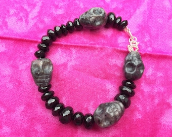 Black Spinel & Larvikite Skull Bracelet - Made to order, custom sizing