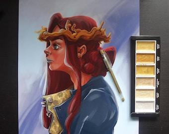 Golden Crown Print A3