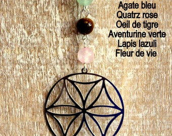 Flower of life 5 gems and pearls pendant