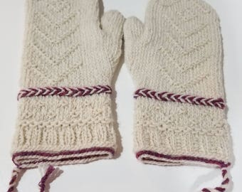 Hand Knit Cream and Burgundy Mittens