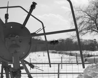 Mechanisms, Sepia, Black and White, Machinary, Winter, Photography, Prints