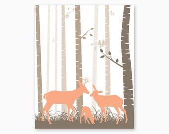 BABY GIRL NURSERY, Deer Nursery, Woodland Nursery, Nursery Printables, Deer Family, Baby Shower Gift, Diy Nursery Art, Instant Download