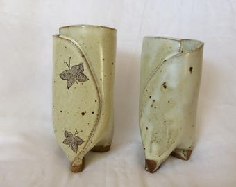 Two buttermilk hand built cups