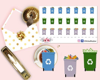 Trash Day Planner Sticker, Trash Reminder Sticker, Recycle Reminder Sticker, Chores, Scrapbook Sticker, Planner Accessory - 21 Stickers