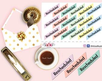 Rescheduled Planner Header Tabs - Plain, Planner Sticker, Rescheduled Planner Tabs, Scrapbook Sticker, Planner Accessory - 12 Stickers