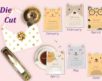 Cat Calendar Die Cut, Cute Cat Die Cuts, Cat Months Planner Die Cut, Monthly Calendar Die Cut, Scrapbook Accessory, Planner Die Cuts